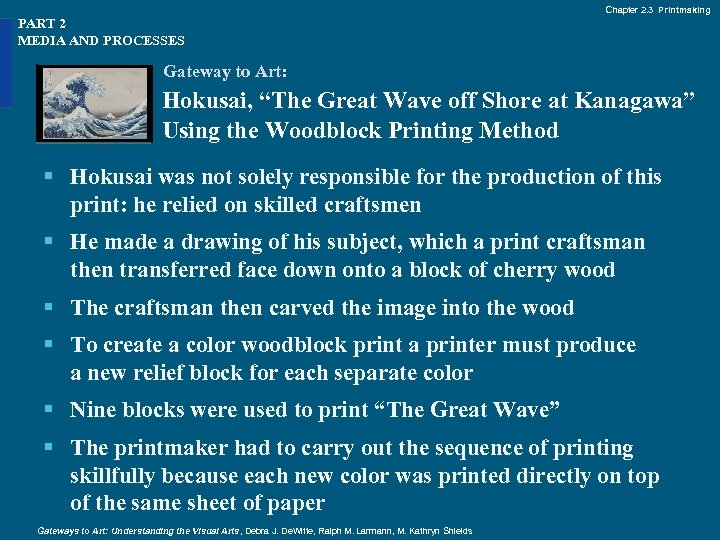 """Chapter 2. 3 Printmaking PART 2 MEDIA AND PROCESSES Gateway to Art: Hokusai, """"The"""
