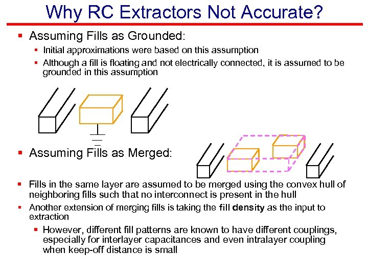Why RC Extractors Not Accurate? § Assuming Fills as Grounded: § Initial approximations were
