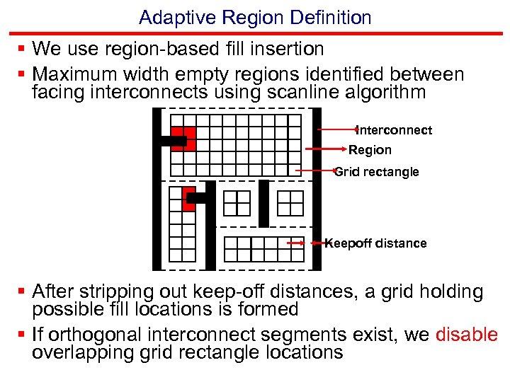 Adaptive Region Definition § We use region-based fill insertion § Maximum width empty regions