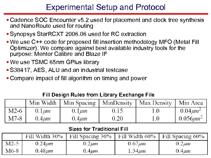 Experimental Setup and Protocol § Cadence SOC Encounter v 5. 2 used for placement