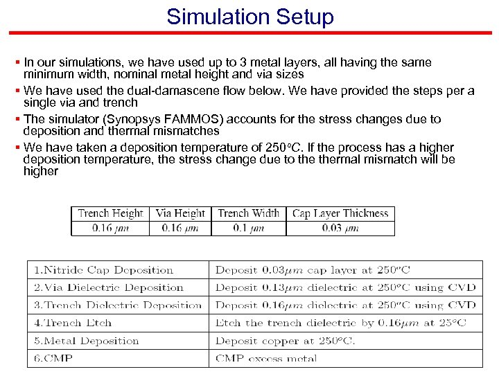 Simulation Setup § In our simulations, we have used up to 3 metal layers,
