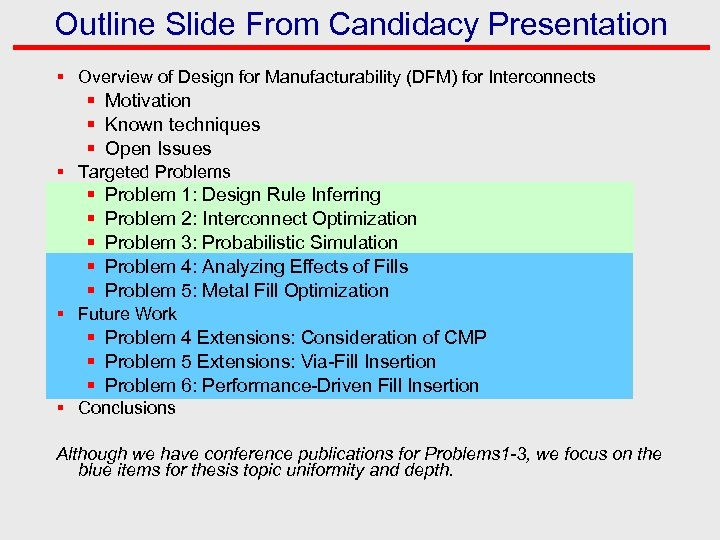 Outline Slide From Candidacy Presentation § Overview of Design for Manufacturability (DFM) for Interconnects