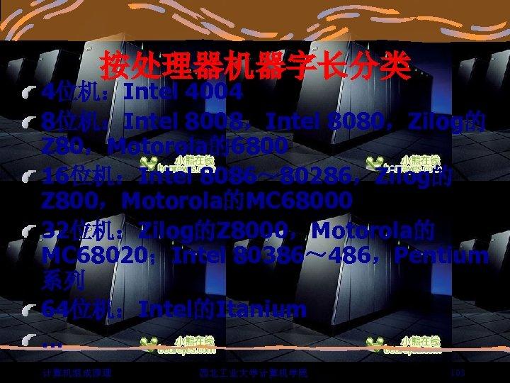 按处理器机器字长分类 4位机:Intel 4004 8位机:Intel 8008,Intel 8080,Zilog的 Z 80,Motorola的6800 16位机:Intel 8086~ 80286,Zilog的 Z 800,Motorola的MC 68000