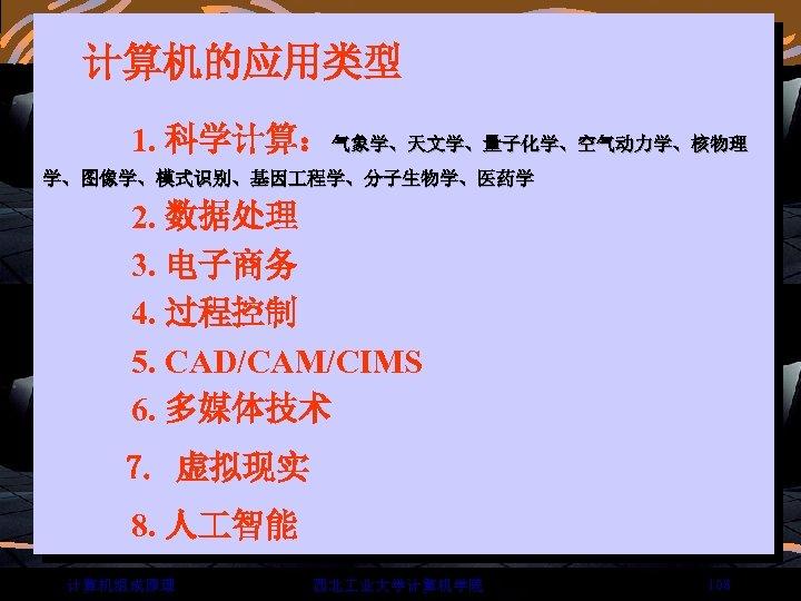 计算机的应用类型 1. 科学计算:气象学、天文学、量子化学、空气动力学、核物理 学、图像学、模式识别、基因 程学、分子生物学、医药学 2. 数据处理 3. 电子商务 4. 过程控制 5. CAD/CAM/CIMS