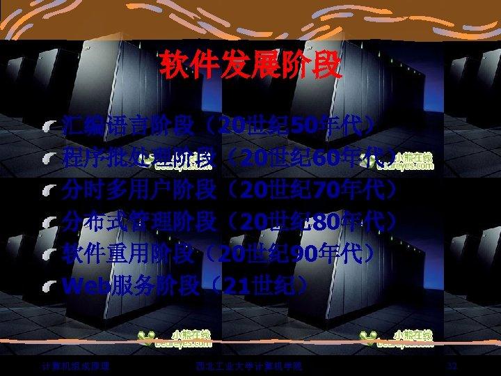 软件发展阶段 汇编语言阶段(20世纪 50年代) 程序批处理阶段(20世纪 60年代) 分时多用户阶段(20世纪 70年代) 分布式管理阶段(20世纪 80年代) 软件重用阶段(20世纪 90年代) Web服务阶段(21世纪) 计算机组成原理 西北