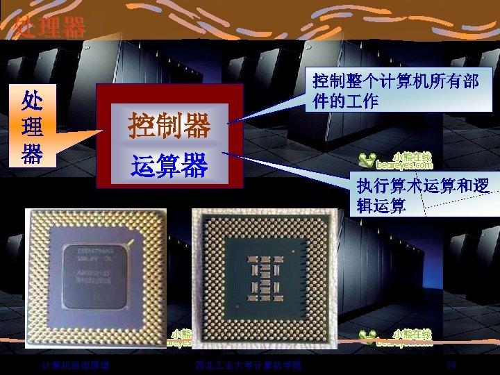 处理器 处 理 器 计算机组成原理 控制整个计算机所有部 件的 作 控制器 运算器 西北 业大学计算机学院 执行算术运算和逻 辑运算