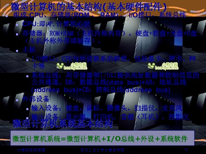 微型计算机的基本结构(基本硬件配件) n 组成: CPU、存储器(ROM 、 RAM) 、 I/O接口、系统总线 n CPU: 即µP. 计算机心脏 n 存储器:ROM+RAM(主机内称内存),硬盘+软盘+光盘+U盘