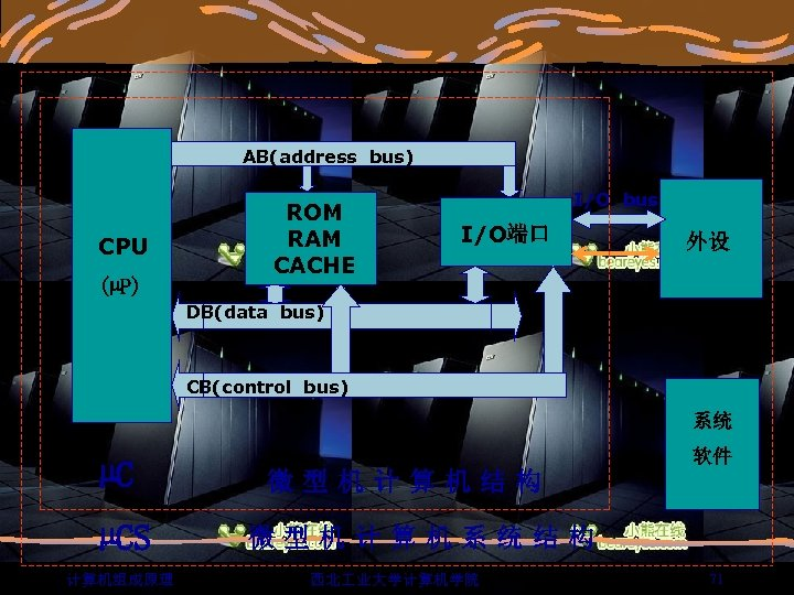 AB(address bus) CPU (µP) ROM RAM CACHE I/O bus I/O端口 外设 DB(data bus) CB(control