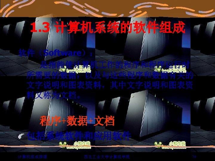 1. 3 计算机系统的软件组成 软件(Software): 是指能使计算机 作的程序和程序运行时 所需要的数据,以及与这些程序和数据有关的 文字说明和图表资料,其中文字说明和图表资 料又称为文档。 程序+数据+文档 包括系统软件和应用软件 计算机组成原理 西北 业大学计算机学院