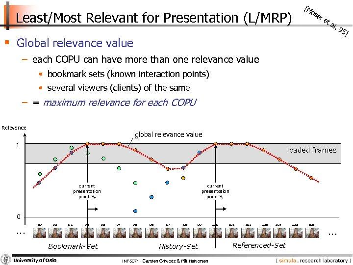 Least/Most Relevant for Presentation (L/MRP) [M os er § Global relevance value et al.