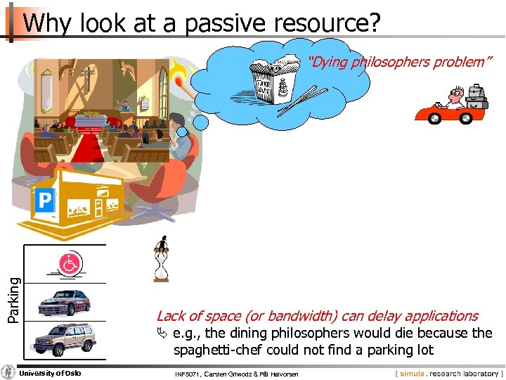 """Why look at a passive resource? Parking """"Dying philosophers problem"""" Lack of space (or"""