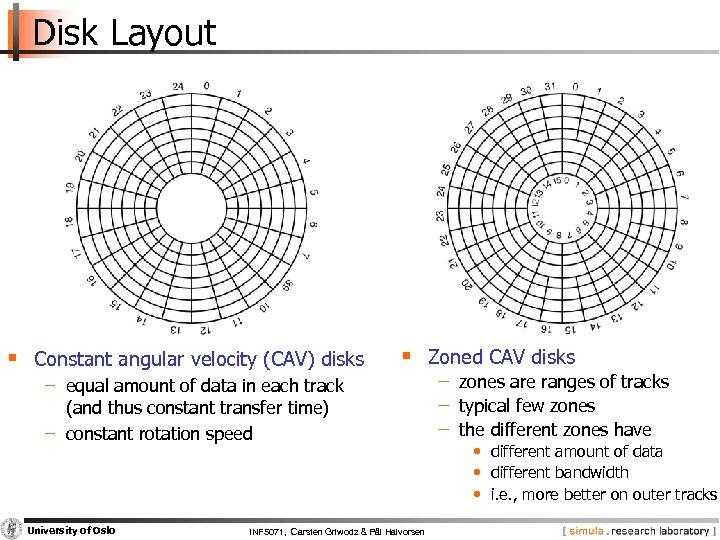 Disk Layout § Constant angular velocity (CAV) disks § Zoned CAV disks − equal