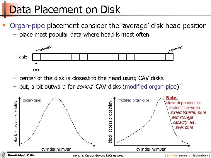 Data Placement on Disk § Organ pipe placement consider the 'average' disk head position