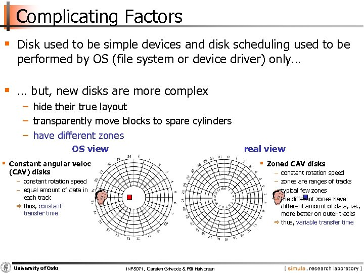 Complicating Factors § Disk used to be simple devices and disk scheduling used to