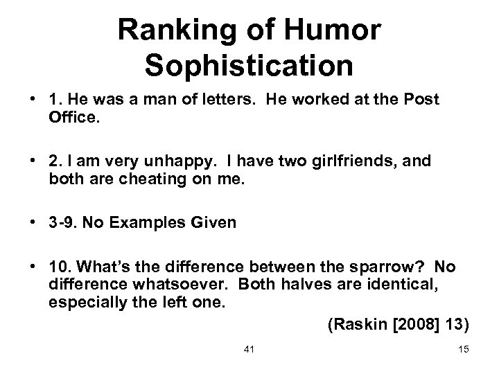 Ranking of Humor Sophistication • 1. He was a man of letters. He worked