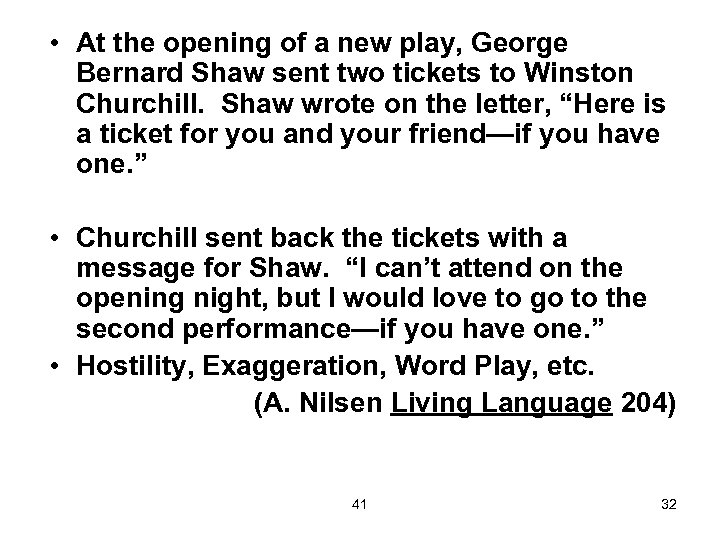 • At the opening of a new play, George Bernard Shaw sent two
