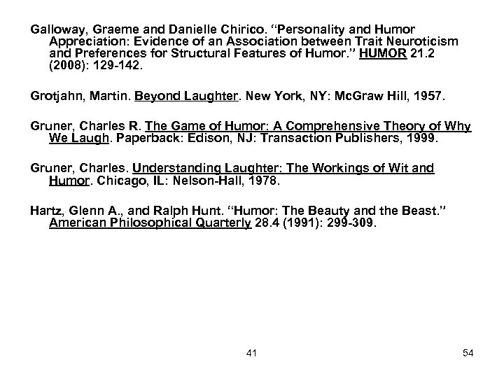 """Galloway, Graeme and Danielle Chirico. """"Personality and Humor Appreciation: Evidence of an Association between"""