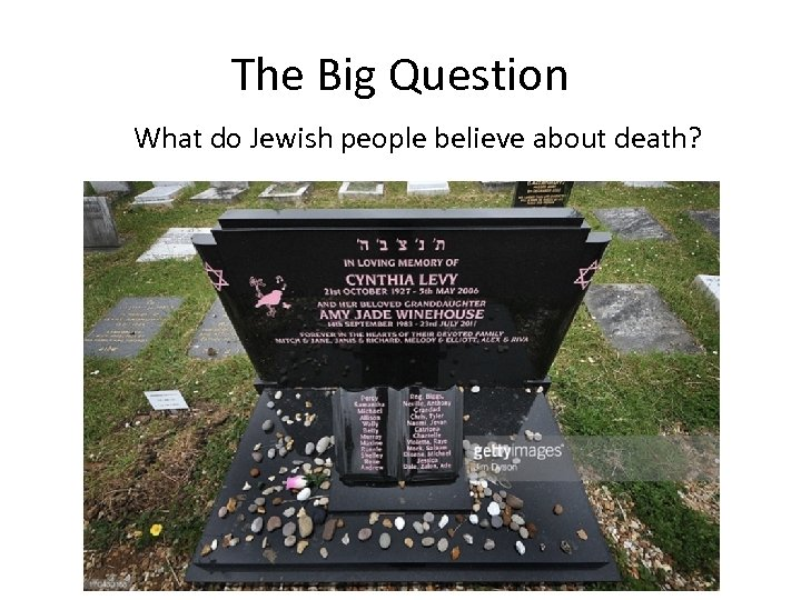 The Big Question What do Jewish people believe about death?