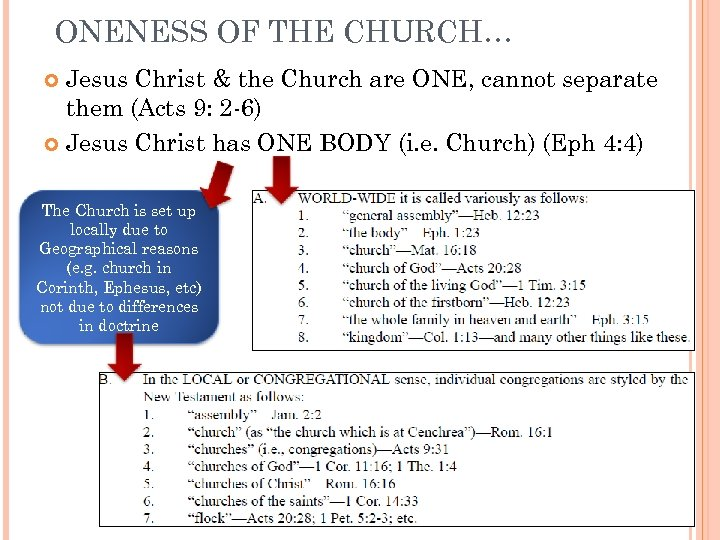 ONENESS OF THE CHURCH… Jesus Christ & the Church are ONE, cannot separate them