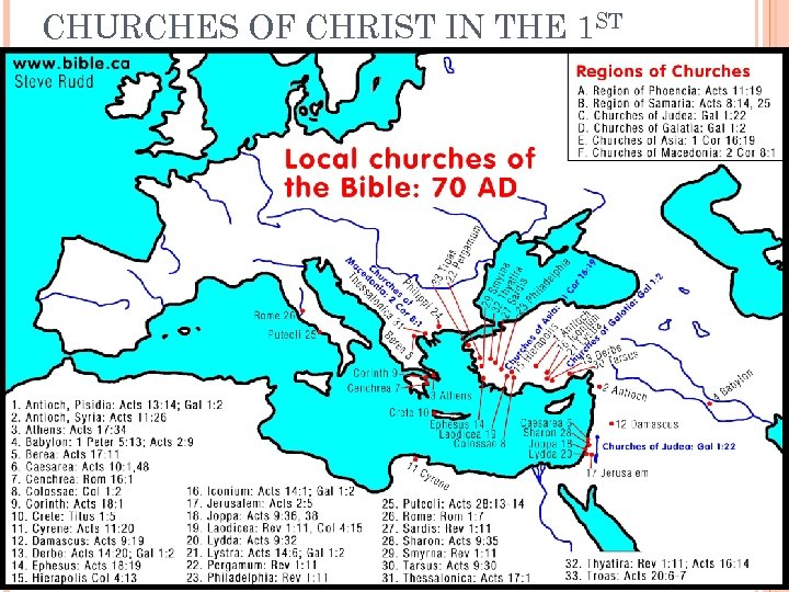 CHURCHES OF CHRIST IN THE 1 ST CENTURY