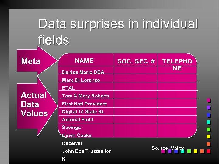 Data surprises in individual fields Meta NAME Denise Mario DBA SOC. SEC. # TELEPHO