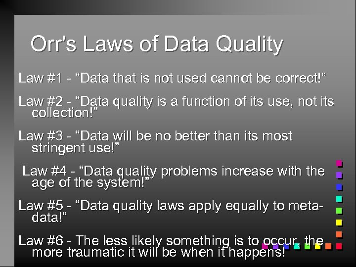 """Orr's Laws of Data Quality Law #1 - """"Data that is not used cannot"""