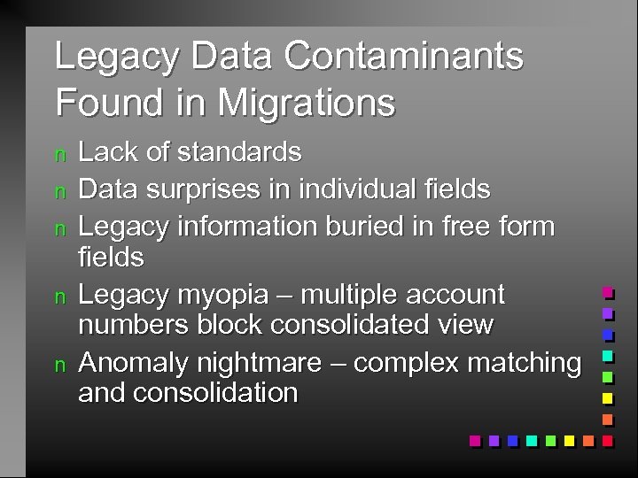 Legacy Data Contaminants Found in Migrations n n n Lack of standards Data surprises