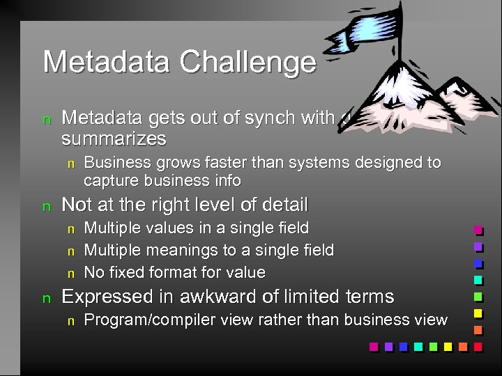 Metadata Challenge n Metadata gets out of synch with details it summarizes n n