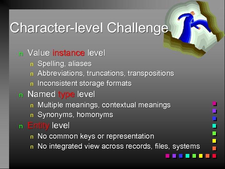 Character-level Challenge n Value instance level n n Named type level n n n