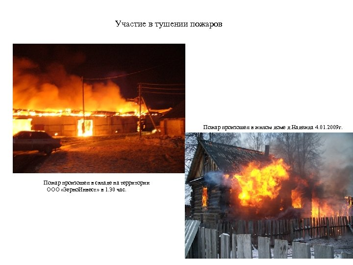 Участие в тушении пожаров Пожар произошел в жилом доме д. Надежда 4. 01. 2009