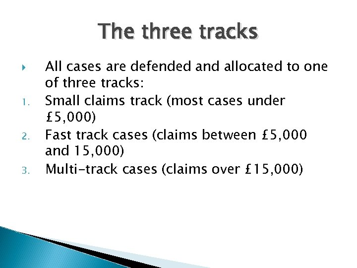 The three tracks 1. 2. 3. All cases are defended and allocated to one