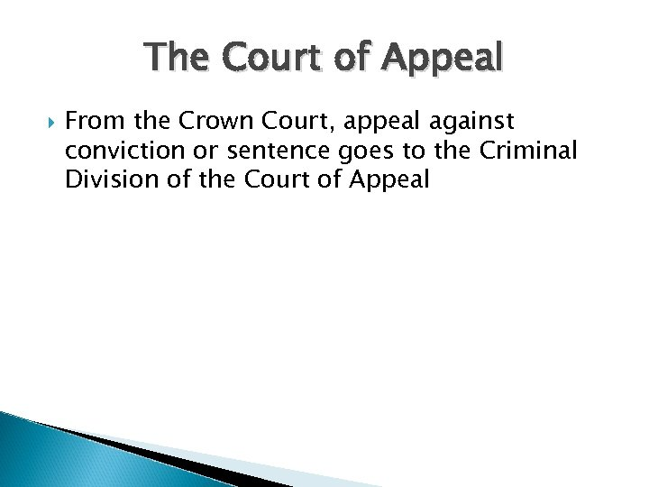 The Court of Appeal From the Crown Court, appeal against conviction or sentence goes