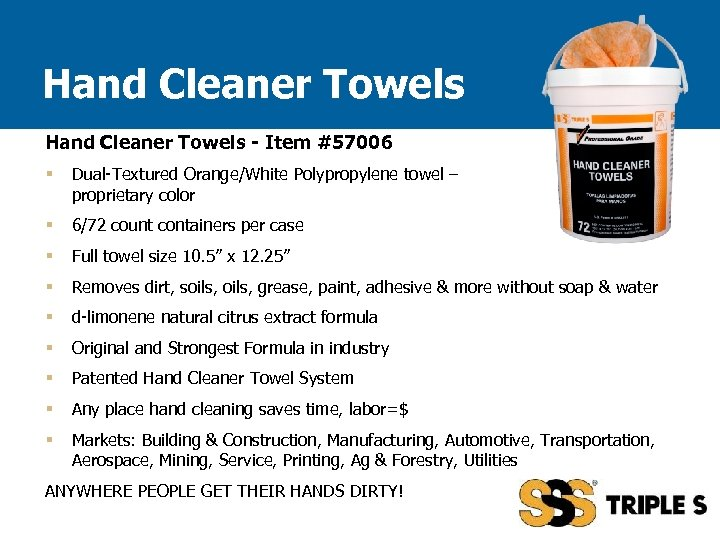 Hand Cleaner Towels - Item #57006 § Dual-Textured Orange/White Polypropylene towel – proprietary color