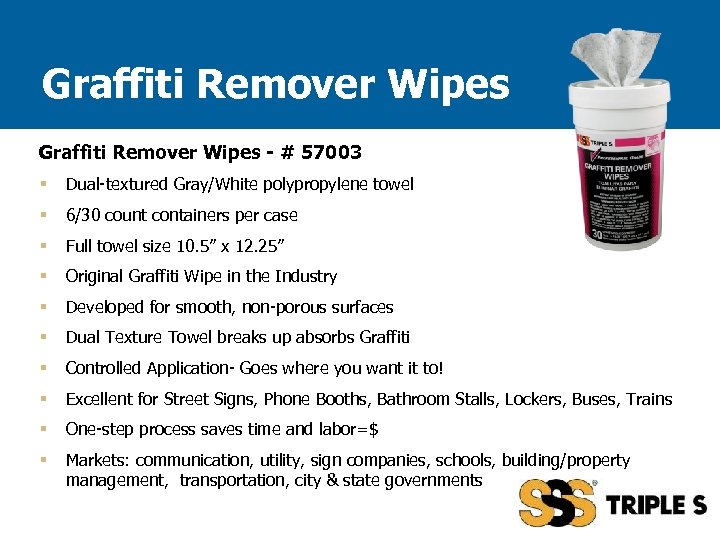 Graffiti Remover Wipes - # 57003 § Dual-textured Gray/White polypropylene towel § 6/30 count