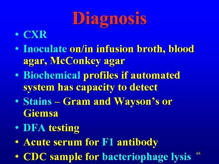Diagnosis • CXR • Inoculate on/in infusion broth, blood agar, Mc. Conkey agar •