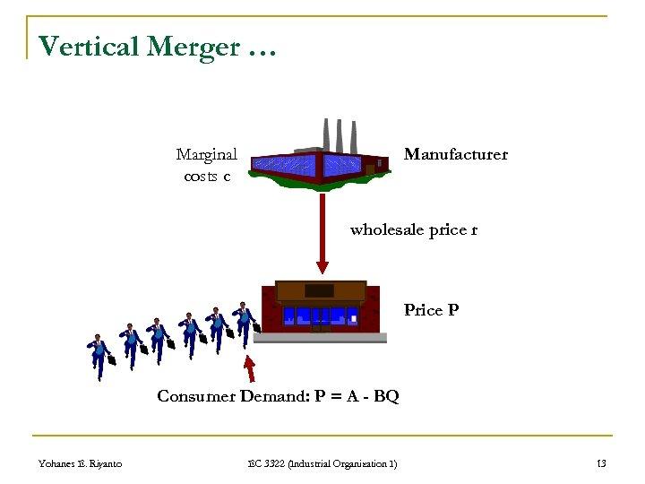 Vertical Merger … Marginal costs c Manufacturer wholesale price r Price P Consumer Demand: