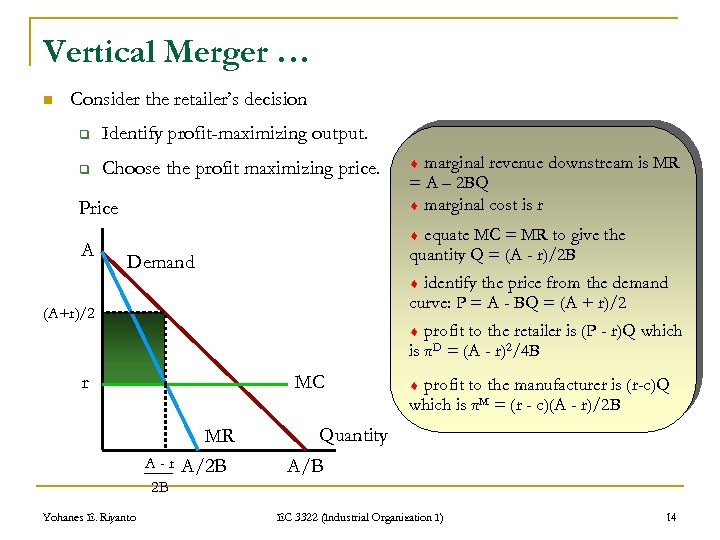 Vertical Merger … n Consider the retailer's decision q Identify profit-maximizing output. q Choose
