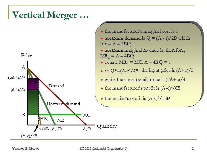 Vertical Merger … the manufacturer's marginal cost is c upstream demand is Q =