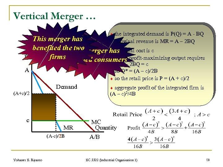 Vertical Merger … the integrated demand is P(Q) = A - BQ marginal revenue