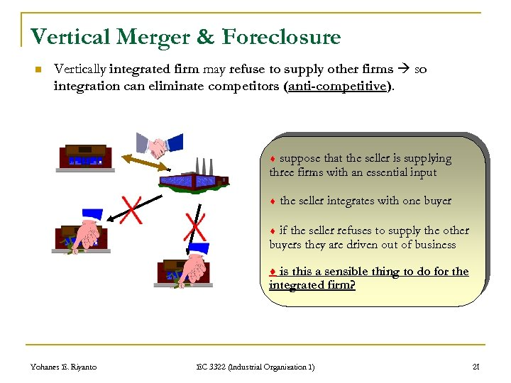 Vertical Merger & Foreclosure n Vertically integrated firm may refuse to supply other firms