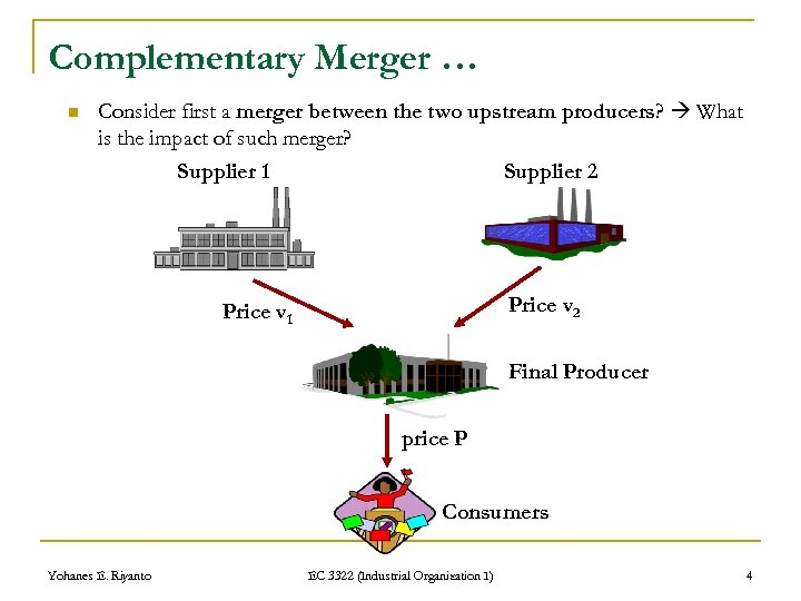 Complementary Merger … n Consider first a merger between the two upstream producers? What