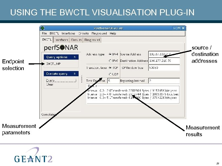 USING THE BWCTL VISUALISATION PLUG-IN Endpoint selection Measurement parameters source / destination addresses Measurement