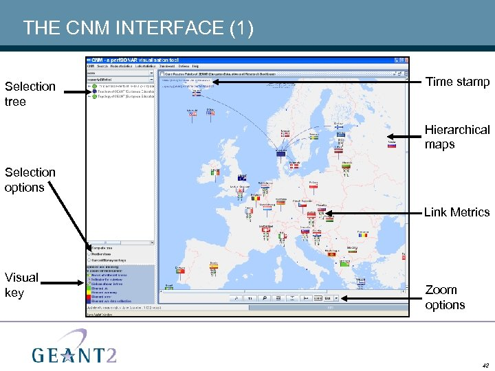 THE CNM INTERFACE (1) Selection tree Time stamp Hierarchical maps Selection options Link Metrics