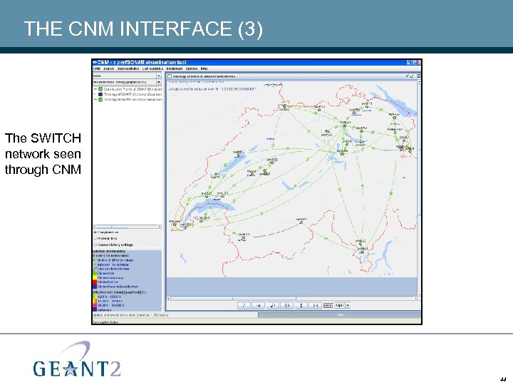 THE CNM INTERFACE (3) The SWITCH network seen through CNM 44
