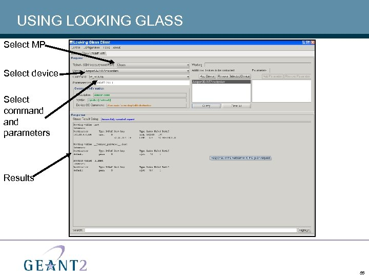 USING LOOKING GLASS Select MP Select device Select command parameters Results 55