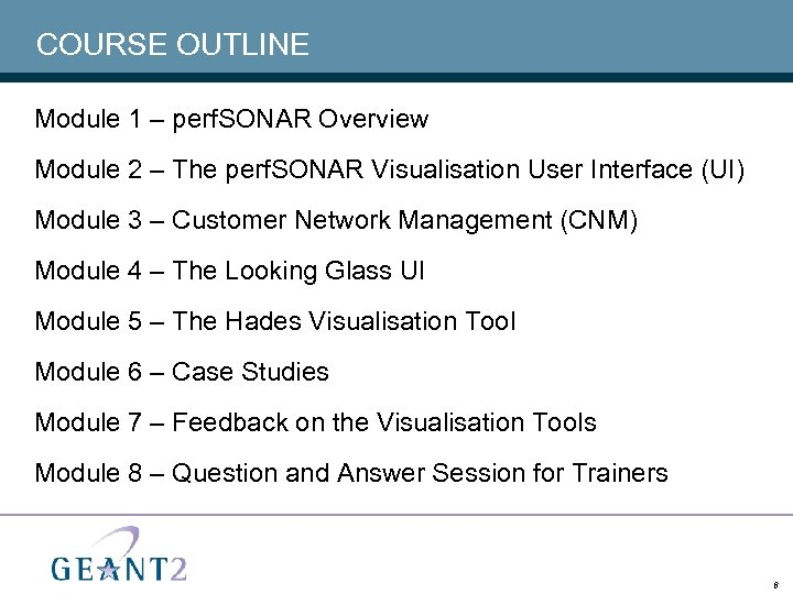 COURSE OUTLINE Module 1 – perf. SONAR Overview Module 2 – The perf. SONAR