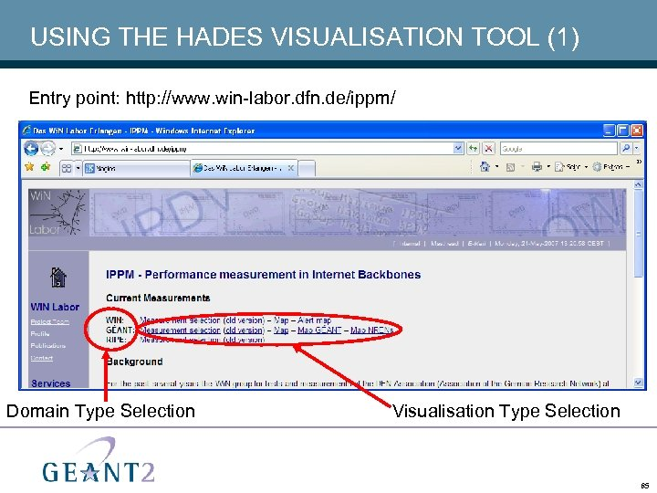 USING THE HADES VISUALISATION TOOL (1) Entry point: http: //www. win-labor. dfn. de/ippm/ Domain