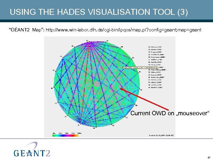 "USING THE HADES VISUALISATION TOOL (3) ""GÉANT 2 Map"": http: //www. win-labor. dfn. de/cgi-bin/ipqos/map."