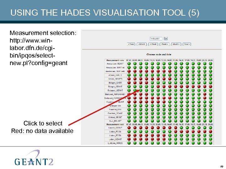 USING THE HADES VISUALISATION TOOL (5) Measurement selection: http: //www. winlabor. dfn. de/cgibin/ipqos/selectnew. pl?