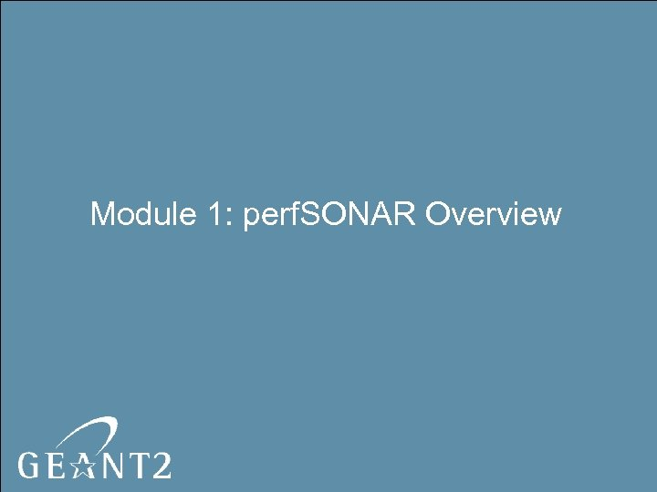 Module 1: perf. SONAR Overview